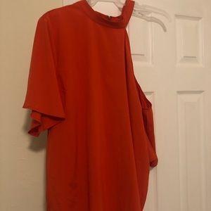 High-neck, one shoulder orange blouse